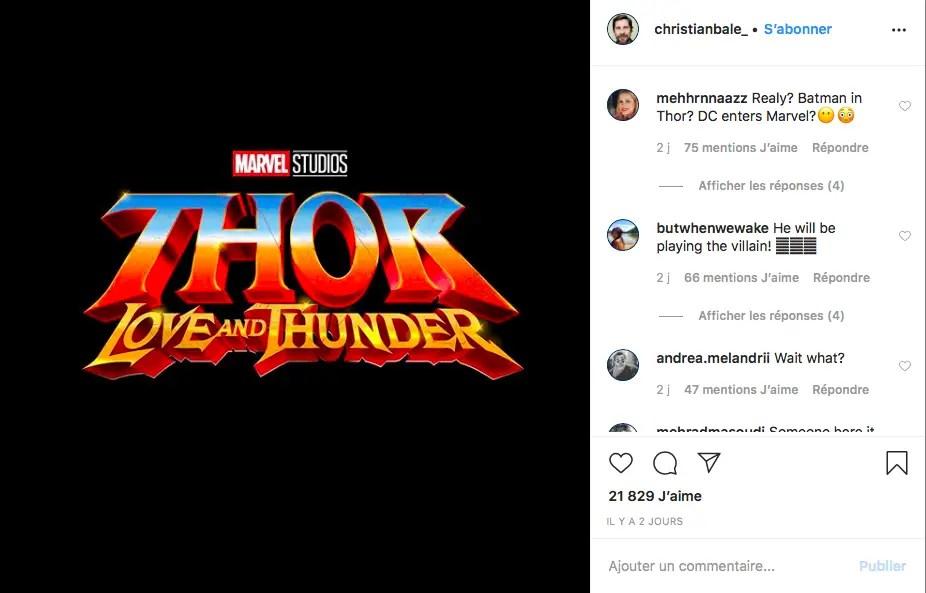 "Christian Bale jouera le prochain méchant dans ""Thor : Love and Thunder"""