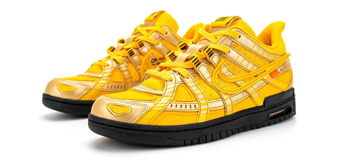 """Off-White ™ x Nike Rubber Dunk """"University Gold"""" : aperçu de la paire"""