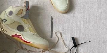 """Off-White x Air Jordan 5 """"Sail """" Les détails sont dévoilés !"""