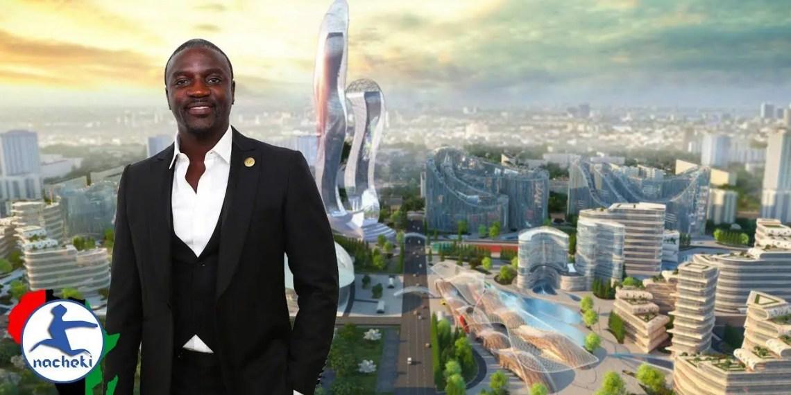 Image du chanteur et entrepreneur devant un exemple visuel de sa future ville