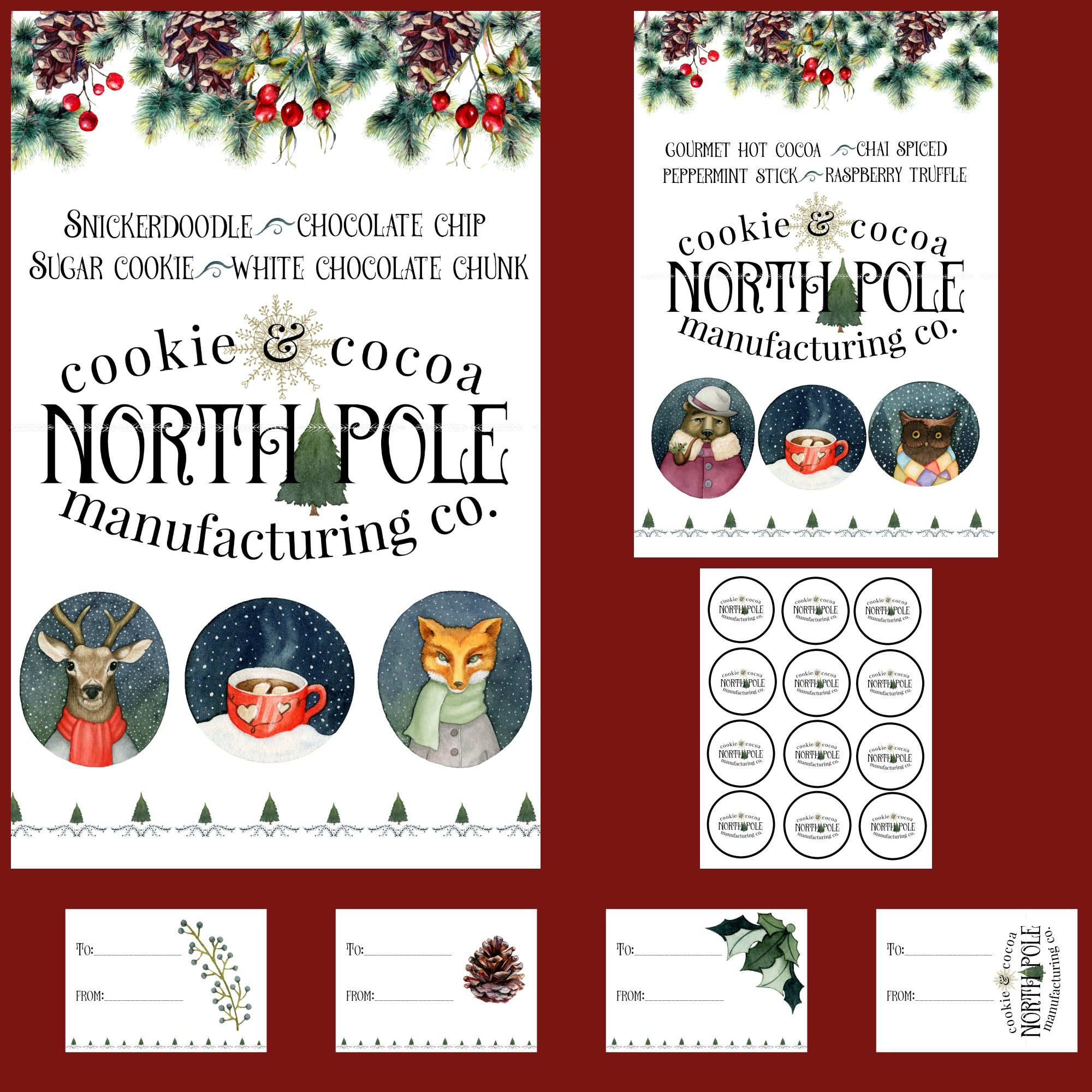 North Pole Cookies Hot Cocoa Bar Printables Blowing Away Out West