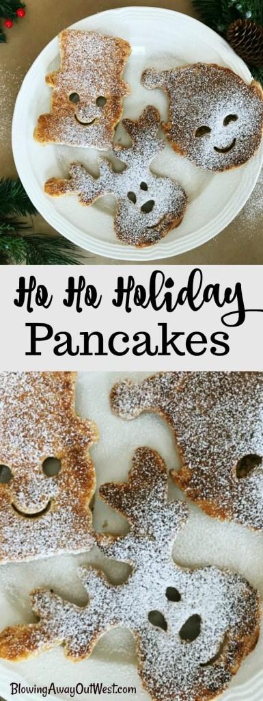 Ho Ho Holiday Pancakes | blowingawayoutwest.com - Molded Christmas Pancakes, perfect for a holiday brunch #christmaspancakes #holidaypancakes #christmaspancakesforkids #christmasmorningbreakfast #12daysofChristmas