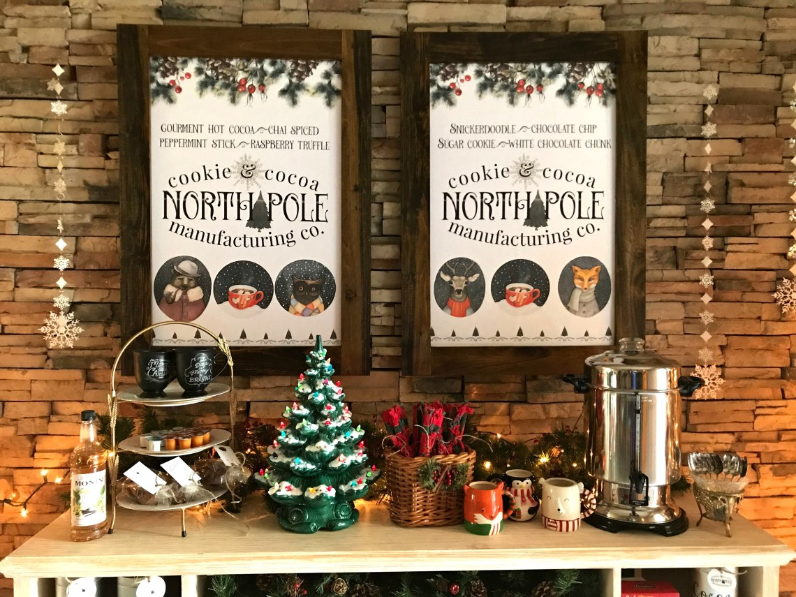 North Pole Hot Cocoa Bar | blowingawayoutwest.com - Hot chocolate bar inspiration, and complete set of printables for the North Pole Hot Cocoa posters and gift tags #hotcocoabar #hotcocoabarparty #hotchocolatebar #hotchocolatebarwedding #hotcocoabarwedding #northpolehotcocoa #12daysofchristmas #christmasparty
