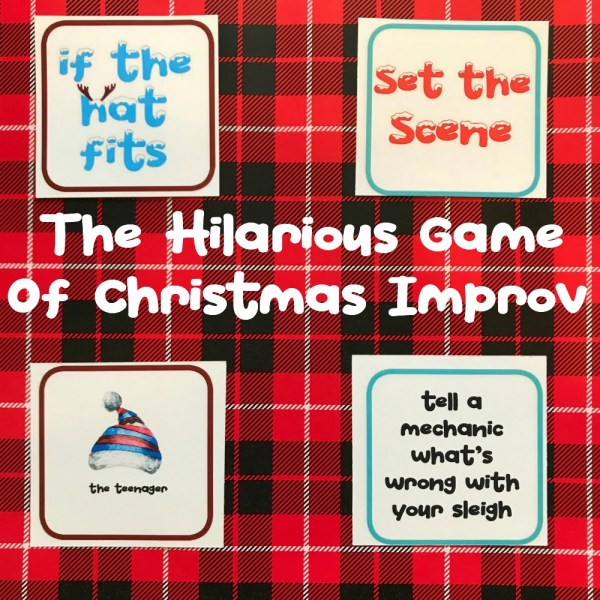 """Christmas Party Group Improv Game   blowingawayoutwest.com - """"If the Hat Fits,"""" the hilarious party game of Christmas Improv #christmasgamesforparties #christmasprintablegames #christmasgames #freechristmasprintable #christmasgroupgames #christmasgamesforfamilies #12daysofChristmas"""