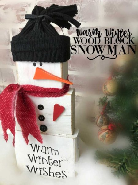 Wood Block Snowman Brings Warm Winter Wishes Blowing Away Out West