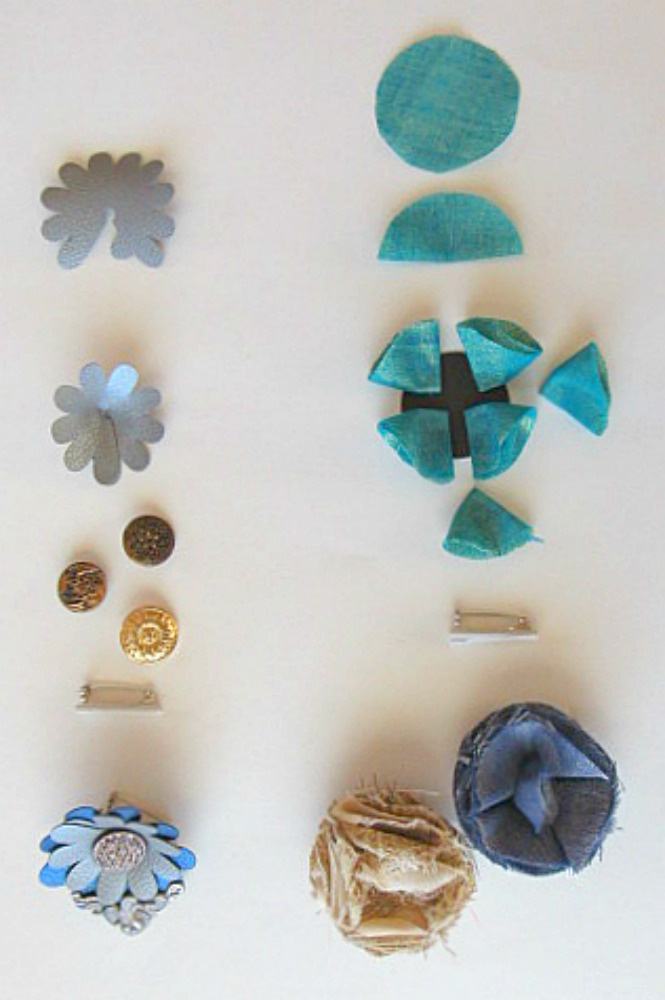 Fabric Flower Bouttonieres & Faux Leather Steampunk Lapel