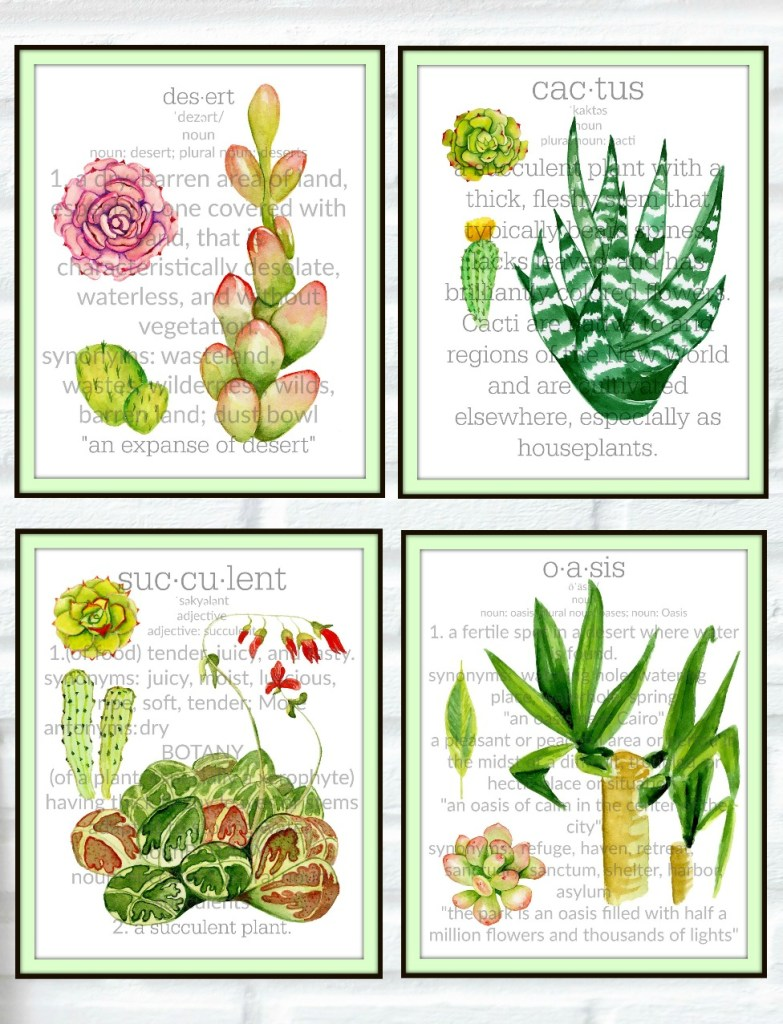 Sensational Cactus & Succulent Botanical Prints - Blowing Away Out West