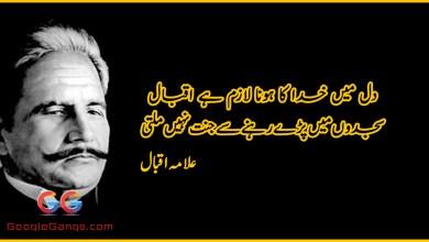 Dil me khuda ka hona lazim hai iqbal - Allama Iqbal Poetry