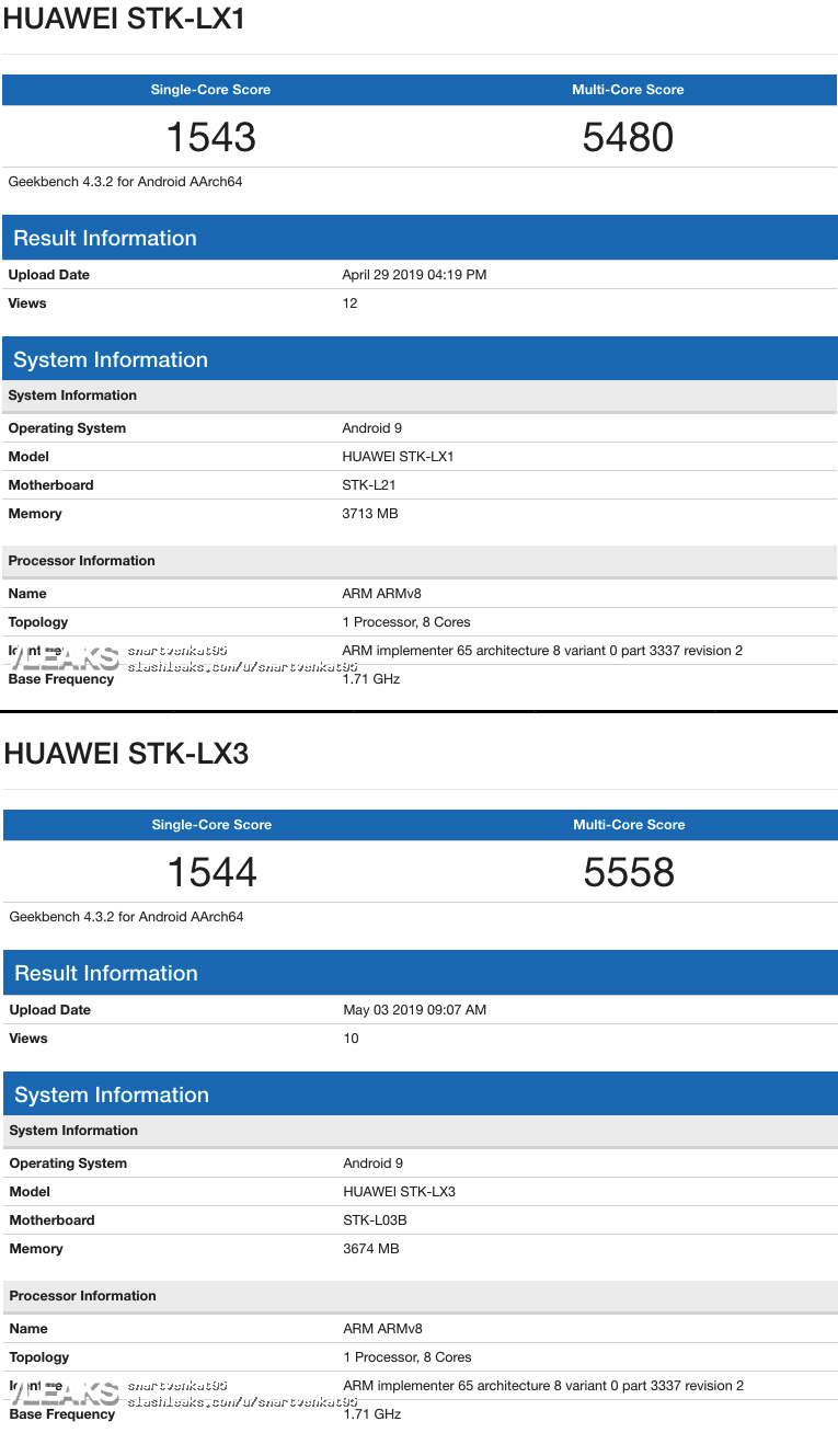 Huawei P Smart Z android 9 kirin 4gb ram geekbench