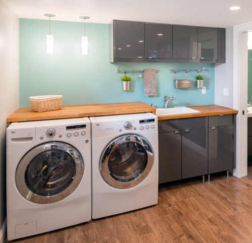 Basement laundry room with Play Room