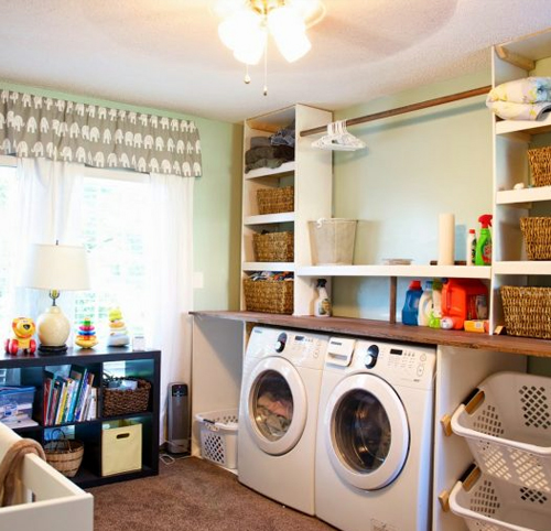 Colorful Laundry Room in Basement Makeover