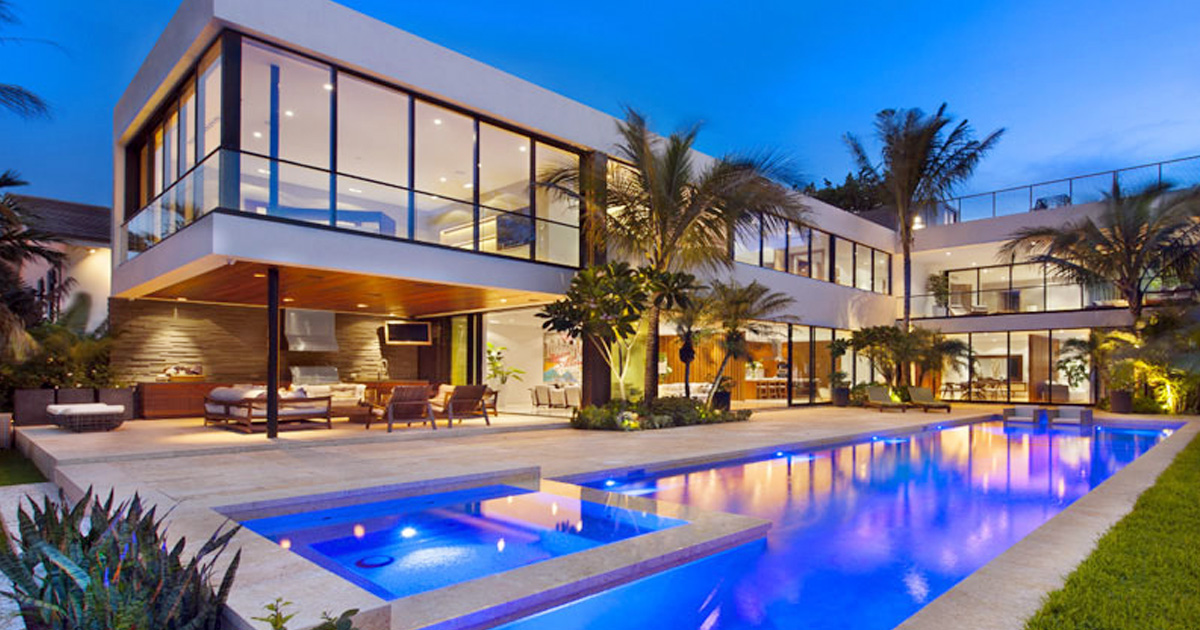 Big Modern House With Palm Trees And Large Swimming Pool