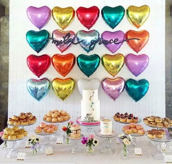 Birthday Party Decor With Heart Shaped Balloons