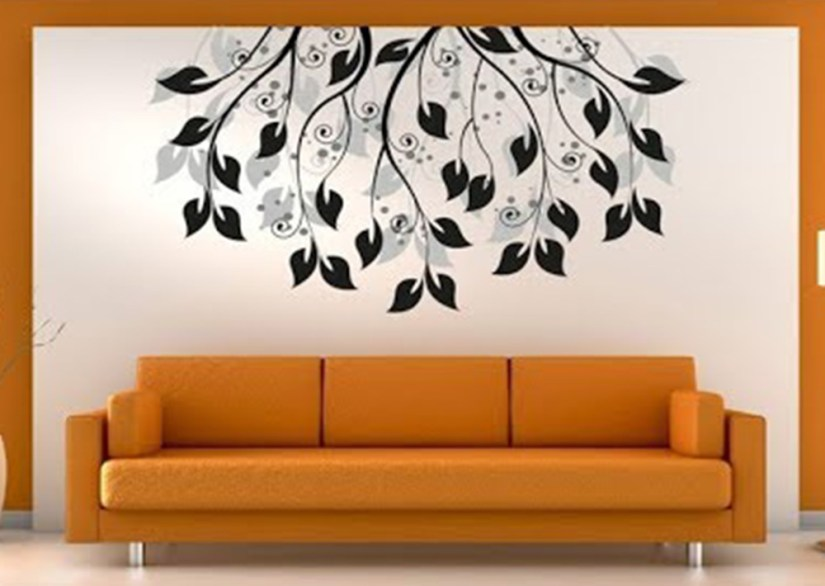 Decorate Living Room Walls With Beautiful Leaves