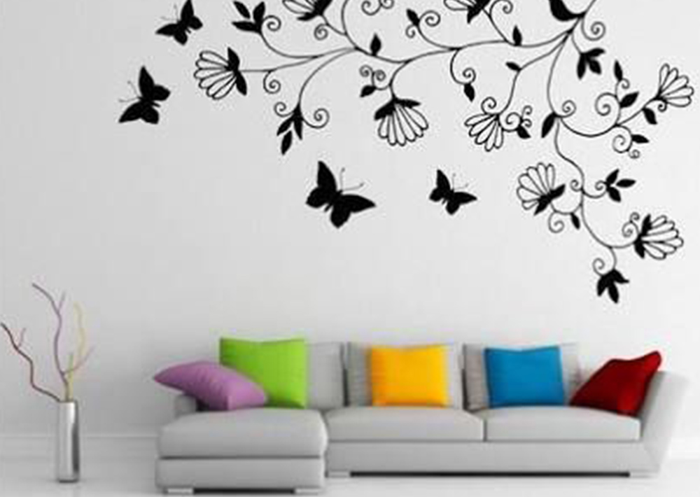 Living room wall design ideas with cute butterfly paintings