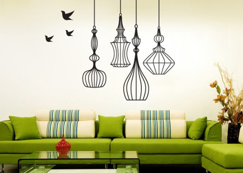 Unique Wall Decoration With Lamps And Birds Paintings