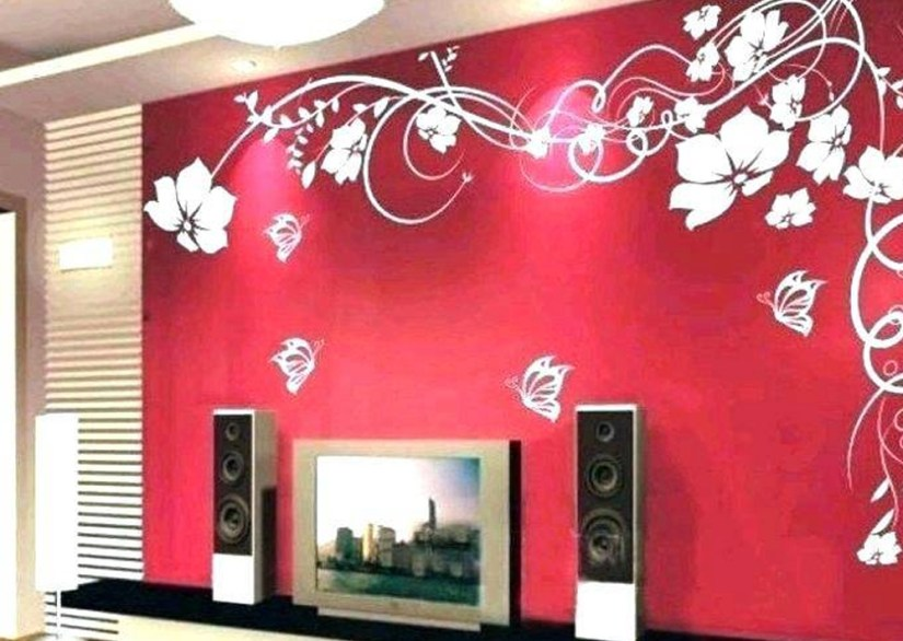Wall Decoration Of Red Paint With White Flowers