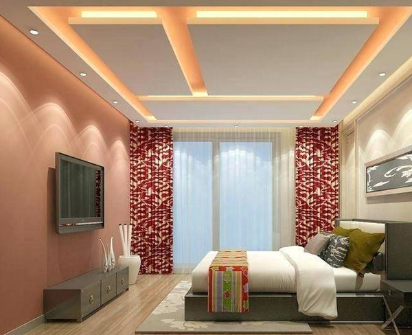 Bedroom Ceiling With Light Pink Color