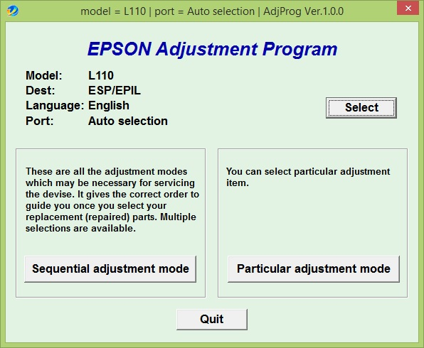 Epson L110 Adjustment Program