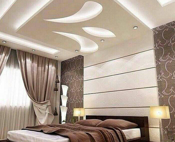 Simple Offwhite Ceiling Design for Bedroom
