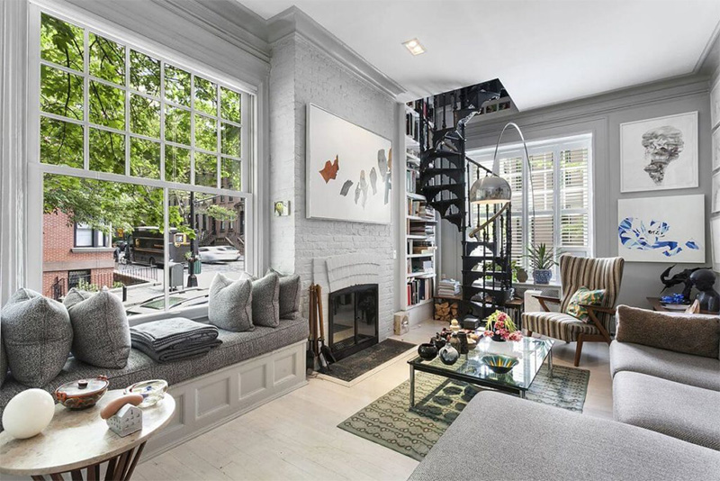 Townhouse Design With Spiral Stairs Interior