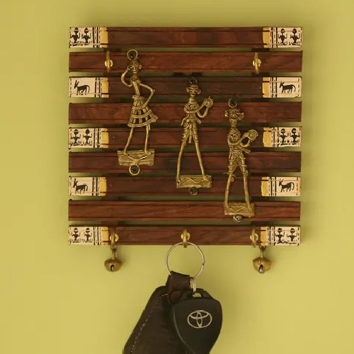 Brown Wooden Key Holder