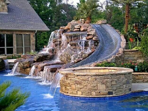 Unique Waterfall Design For Swimming Pool