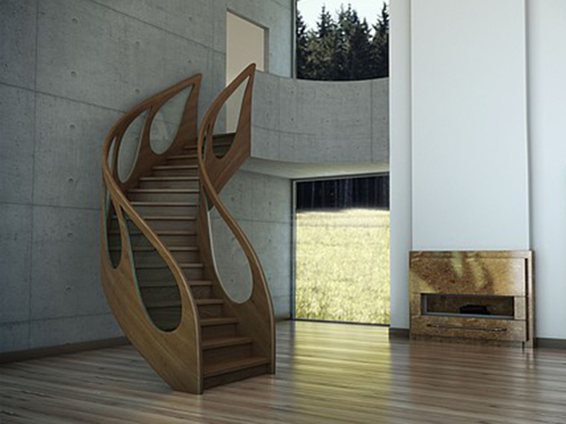 Staircase Wood And Glass