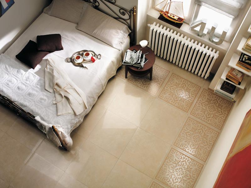 Cream White Bedroom Floor Tile Border