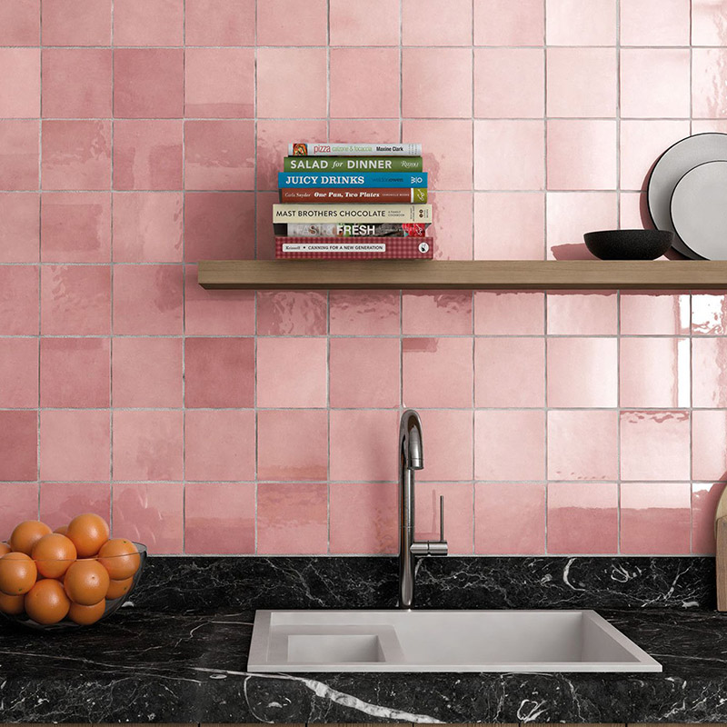 Light Pink Kitchen Tiles