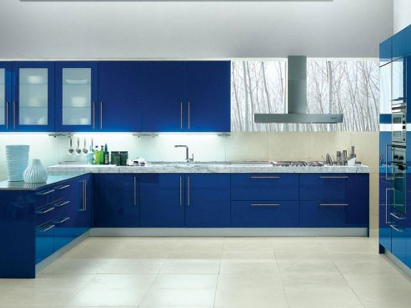 Blue With White Kitchen Cabinet