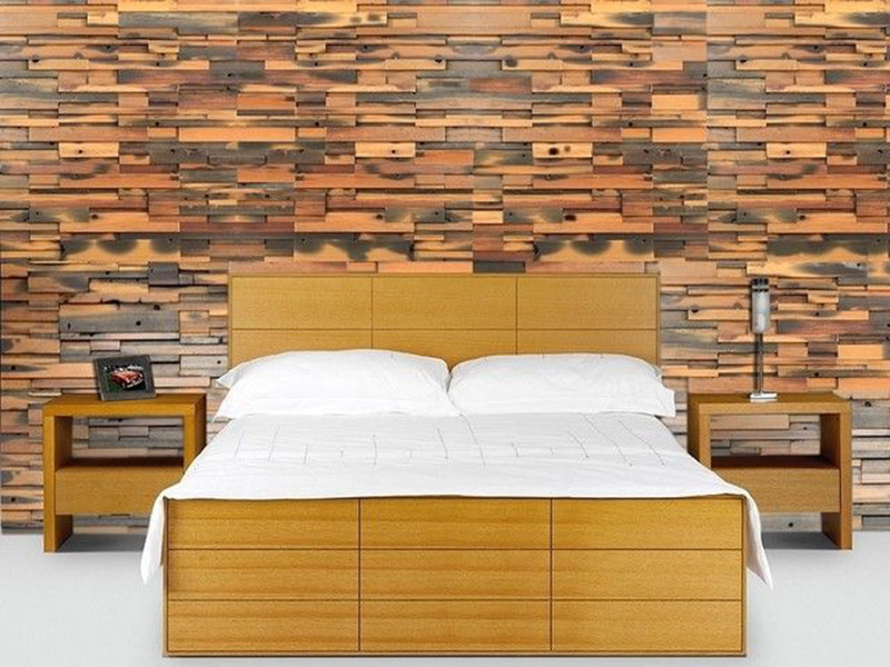 Brown With Silver Color Tiles Design Bedroom