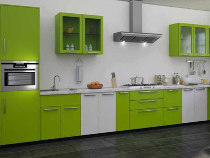 Green With White Color Combination Kitchen Cabinet