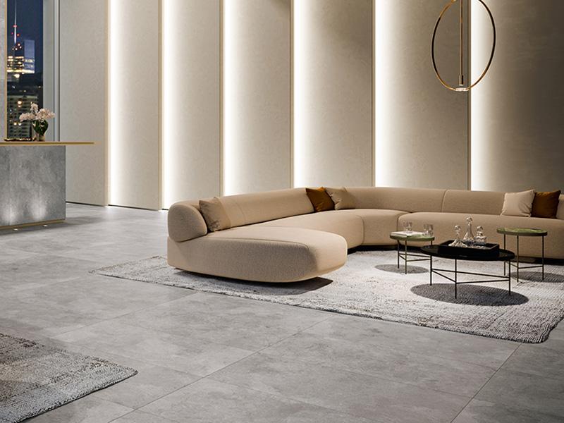 Italian Grey Floor Tiles In Living Room