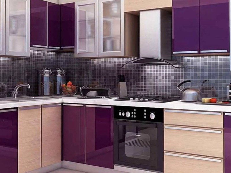 Purple And Light Purple Kitchen Cabinet