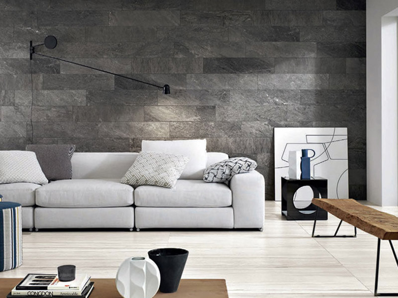 Silver Stone Wall Tiles Living Room