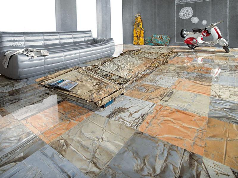 Unusual Tile Metal Floor Living Room