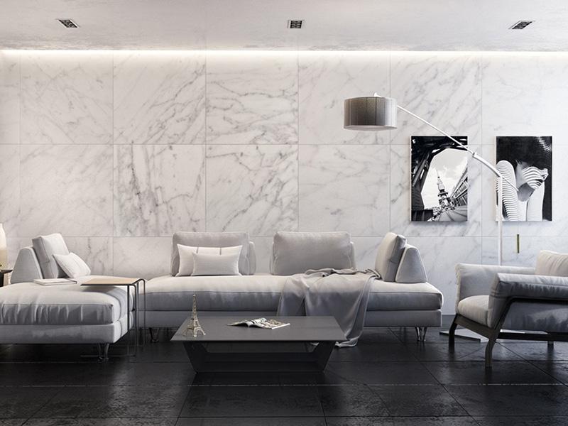 White Marble Tile Living Room