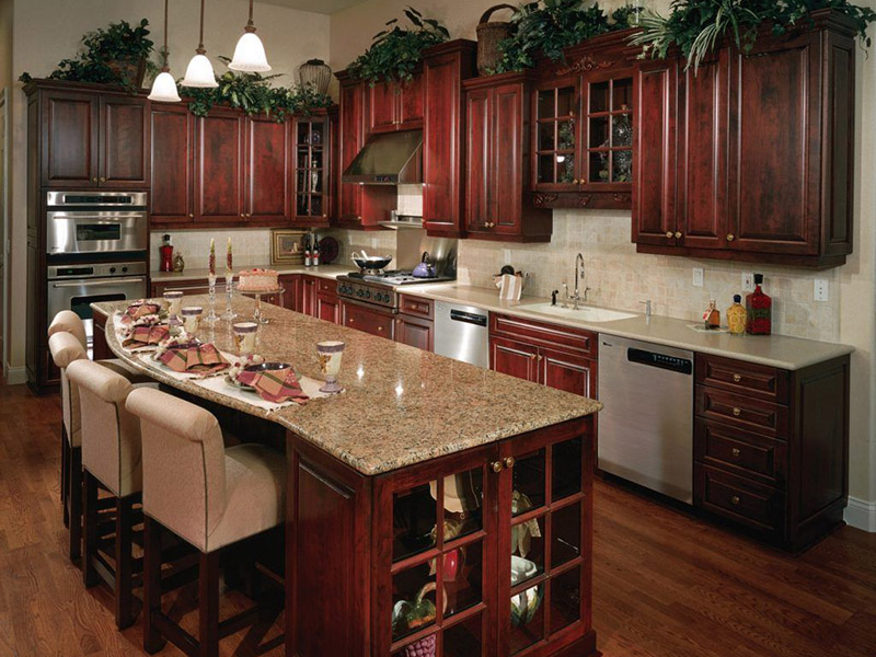 Wooden Kitchen Cabinet With Chair Table