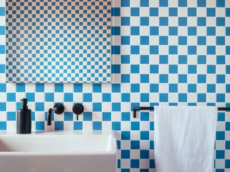 Blue And White Checkerboard Tiles Bathroom