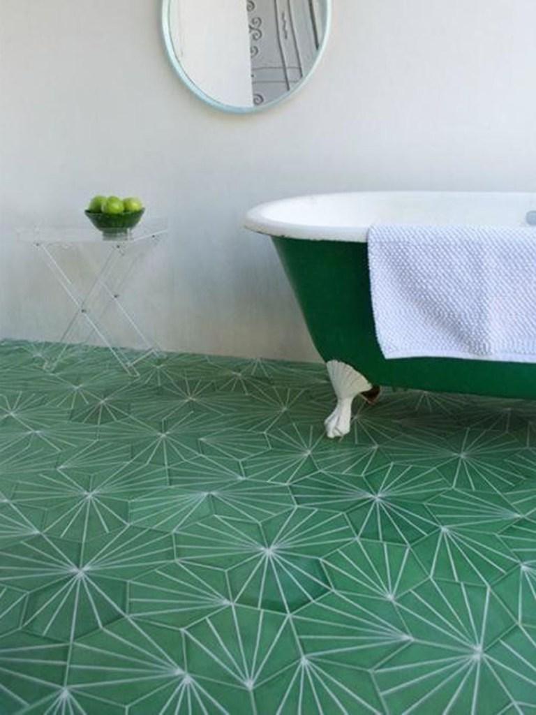Dandelion Green Bathroom Floor Tiles
