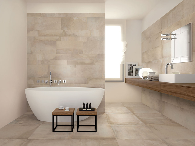 Large Stone Wall Tiles In Bath Room