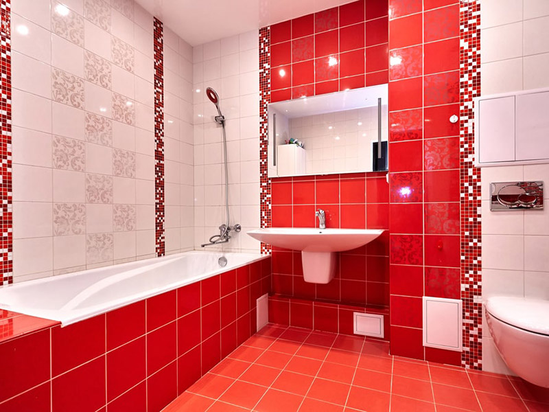 Red Wall Tiles In Bathroom