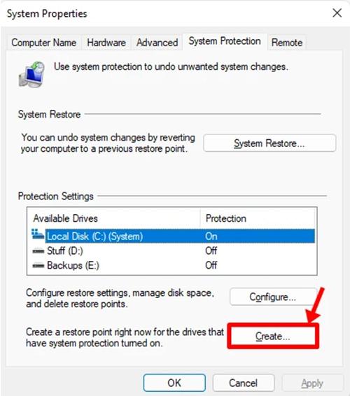 Create Windows 11 Restore Point