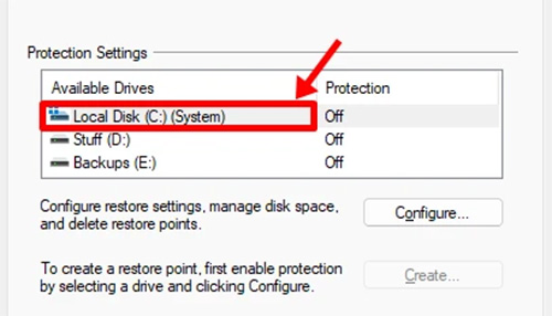 Select Drive To Enable Protection