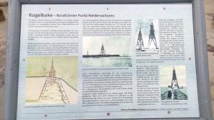 Infotafel zur Kugelbake, dem wohl bekanntesten Seefahrtszeichen Deutschlands