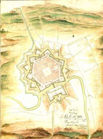 Stadtplan und Festungsanlagen von Saarlouis von 1693