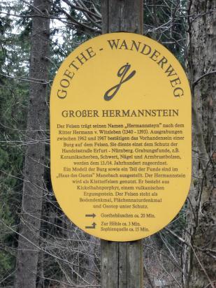 Infotafel am Großen Hermannsfelsen