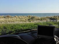 Lubmin: Blick aus dem Womo auf die Dünen und die Ostsee
