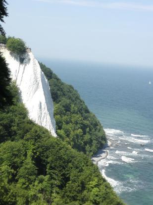 Das ist er, der berühmte Königsstuhl von der Seite gesehen. 118 Meter geht es hier steil in die Tiefe.